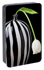 White Tulip In Striped Vase Portable Battery Charger by Garry Gay
