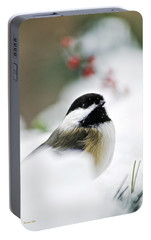 White Winter Chickadee Portable Battery Charger by Christina Rollo