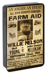 Willie Nelson Neil Young 1985 Farm Aid Poster Portable Battery Charger by John Stephens