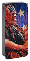 Willie Nelson Portable Battery Charger by Taylan Soyturk