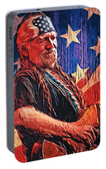 Willie Nelson Portable Battery Charger by Taylan Apukovska