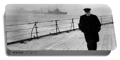 Winston Churchill At Sea Portable Battery Charger by War Is Hell Store
