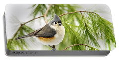 Winter Pine Bird Portable Battery Charger by Christina Rollo