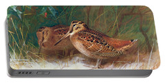 Woodcock In The Undergrowth Portable Battery Charger by Archibald Thorburn
