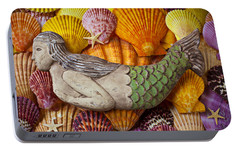 Wooden Mermaid Portable Battery Charger by Garry Gay