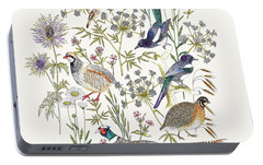 Woodland Edge Birds Placement Portable Battery Charger by Jacqueline Colley