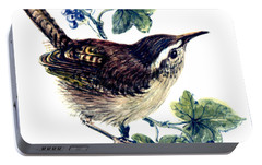Wren In The Ivy Portable Battery Charger by Nell Hill