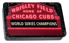 Wrigley Field Marquee Cubs World Series Champs 2016 Front Portable Battery Charger by Steve Gadomski