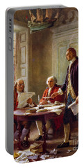 Writing The Declaration Of Independence, 1776, Portable Battery Charger by Leon Gerome Ferris