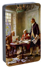 Writing The Declaration Of Independence Portable Battery Charger by War Is Hell Store