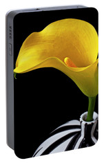 Yellow Calla Lily In Black And White Vase Portable Battery Charger by Garry Gay