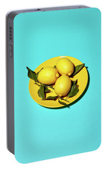Yellow Lemons On Cyan Portable Battery Charger by Oleg Cherneikin