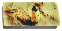 Yellow Rocket On Planetoid Exploration Portable Battery Charger by Jorgo Photography - Wall Art Gallery