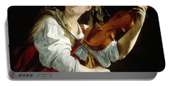 Young Woman With A Violin Portable Battery Charger by Orazio Gentileschi