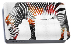 Zebra Black White And Red Orange By Sharon Cummings  Portable Battery Charger by Sharon Cummings