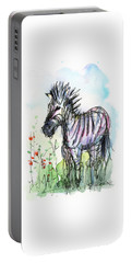 Zebra Painting Watercolor Sketch Portable Battery Charger by Olga Shvartsur