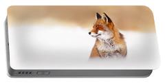 Zen Fox Series - Zen Fox In Winter Mood Portable Battery Charger by Roeselien Raimond