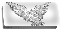 Zentangle Owl In Flight Portable Battery Charger by Cindy Elsharouni