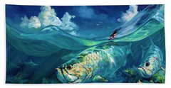 A Place I'd Rather Be - Caribbean Tarpon Fish Fly Fishing Painting Beach Towel by Savlen Art