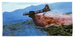 Beach Sheet featuring the photograph  B-17 Air Tanker Dropping Fire Retardant by Bill Gabbert