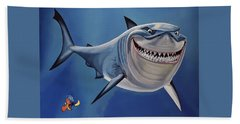 Finding Nemo Painting Beach Towel by Paul Meijering