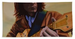 Neil Young Painting Beach Towel by Paul Meijering