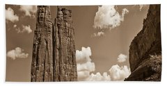 Spider Rock Canyon De Chelly Beach Sheet by Bob and Nadine Johnston