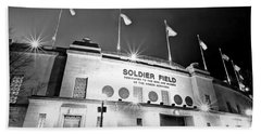 0879 Soldier Field Black And White Beach Sheet by Steve Sturgill