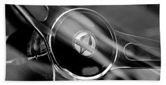 1965 Ford Mustang Cobra Emblem Steering Wheel Beach Towel by Jill Reger