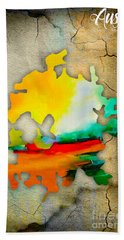 Austin Map Watercolor Beach Sheet by Marvin Blaine