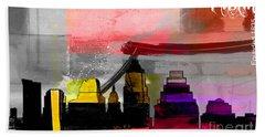 Austin Texas Skyline Watercolor Beach Towel by Marvin Blaine