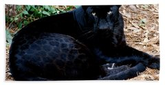 Black Leopard Beach Sheet by Mark Newman