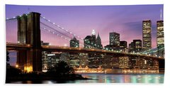 Brooklyn Bridge New York Ny Usa Beach Sheet by Panoramic Images