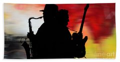 Bruce Springsteen Clarence Clemons Beach Sheet by Marvin Blaine