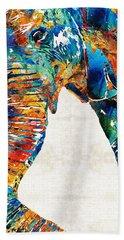 Colorful Elephant Art By Sharon Cummings Beach Towel by Sharon Cummings