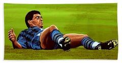 Diego Maradona Beach Towel by Paul Meijering
