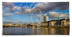 Ferris Wheel At The Waterfront Beach Sheet by Panoramic Images