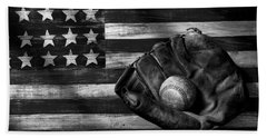 Folk Art American Flag And Baseball Mitt Black And White Beach Towel by Garry Gay
