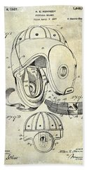 Football Helmet Patent Beach Towel by Jon Neidert