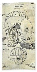 Football Helmet Patent Beach Sheet by Jon Neidert