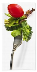 Fresh Vegetables On A Fork Beach Towel by Elena Elisseeva