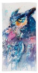 Great Horned Owl Beach Towel by Kovacs Anna Brigitta