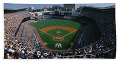 High Angle View Of A Baseball Stadium Beach Towel by Panoramic Images