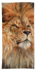 Lion Beach Towel by David Stribbling