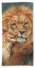 Lion Love Beach Towel by David Stribbling