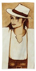 Michael Jackson Original Coffee Painting Beach Sheet by Georgeta  Blanaru