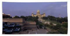 Panoramic View Of Iowa State Capitol Beach Towel by Panoramic Images