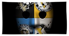 Penguins Goalie Mask Beach Towel by Joe Hamilton