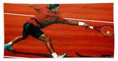 Roger Federer At Roland Garros Beach Sheet by Paul Meijering