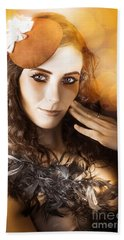 Vintage Style Actress Performing In French Beret Beach Towel by Jorgo Photography - Wall Art Gallery